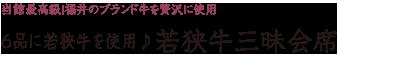 当館最高級!福井のブランド牛を贅沢に使用「6品に若狭牛を使用♪若狭牛三昧プラン」